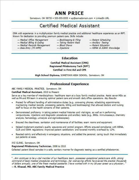 A Healthy Medical Assistant Resume